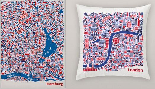 Städteposter by heart von Vianina.com