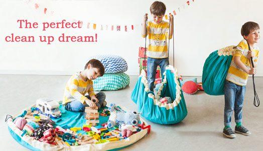 Mobiler Spielzeugsack und Spielteppich